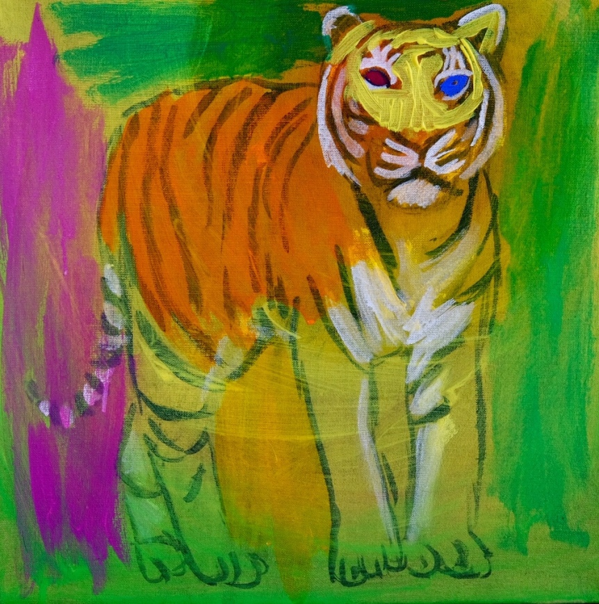 In progress. Tiger standing. Acrylic on canvas. 50x50 cm. 2019
