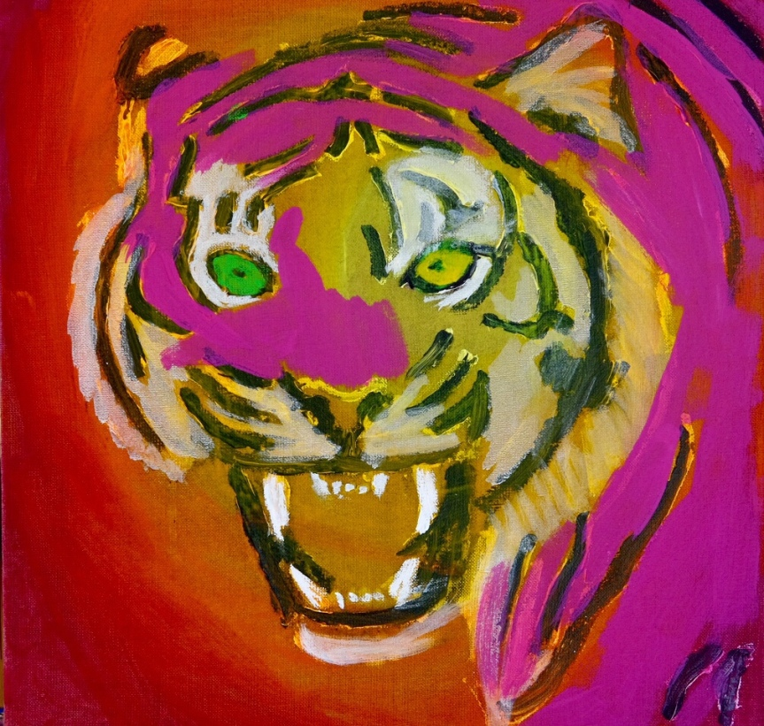 A tiger picture in progress. 50x50 cm. 2019. (In progress)