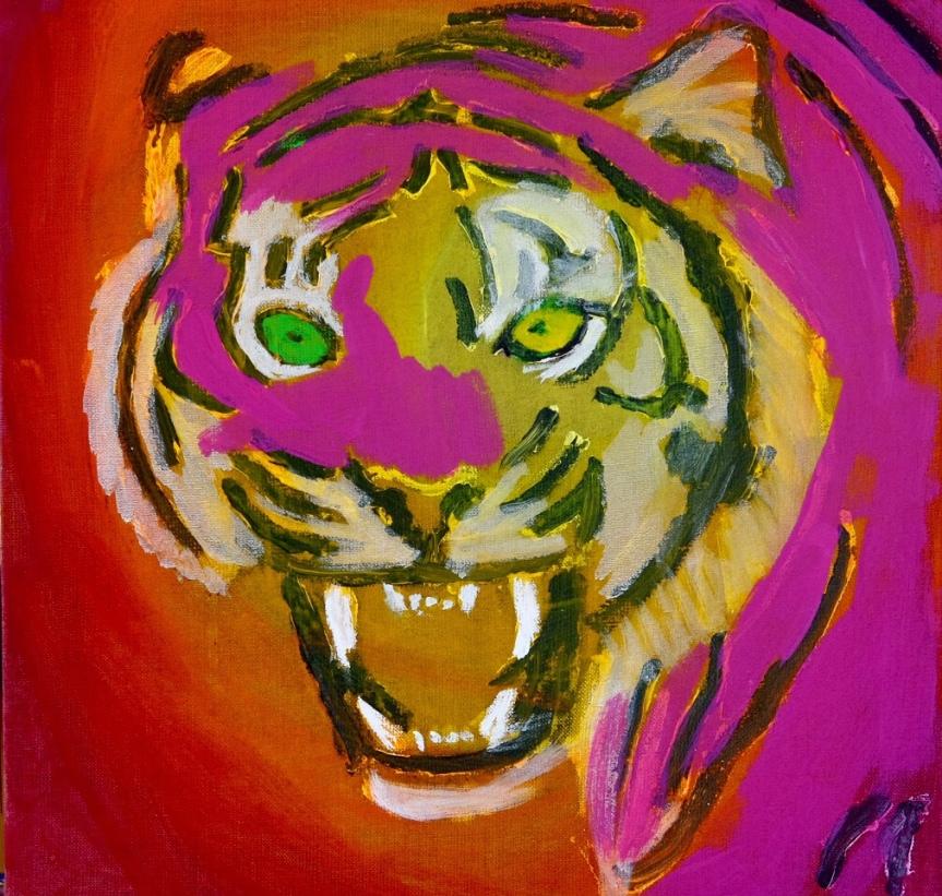 A tiger picture in progress. 50x50 cm. 2019. (In progress)