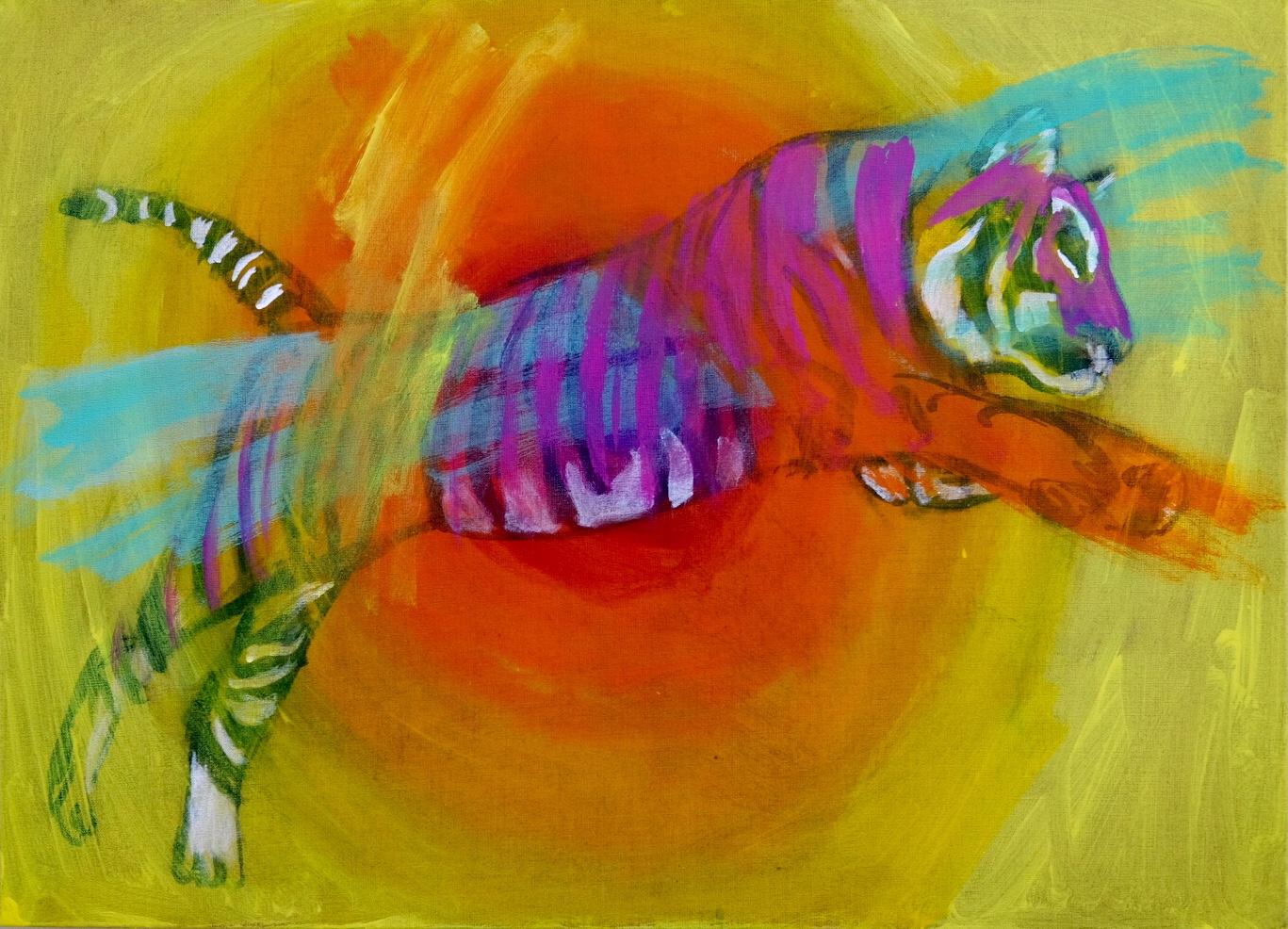 Tiger leap. 73x100 cm. 2019. Acrylic on canvas. (In progress)