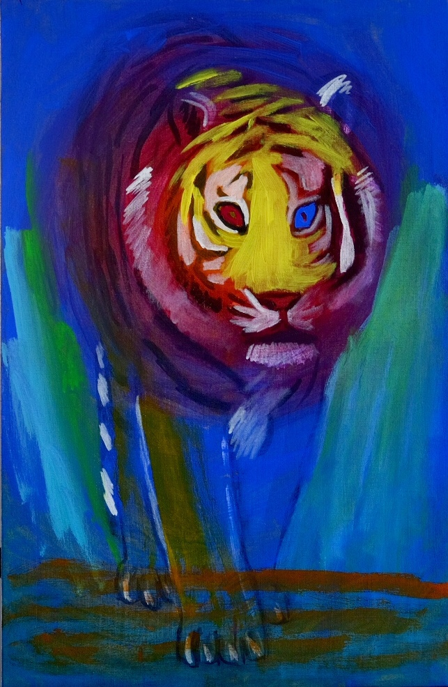 Painting of a blue tiger