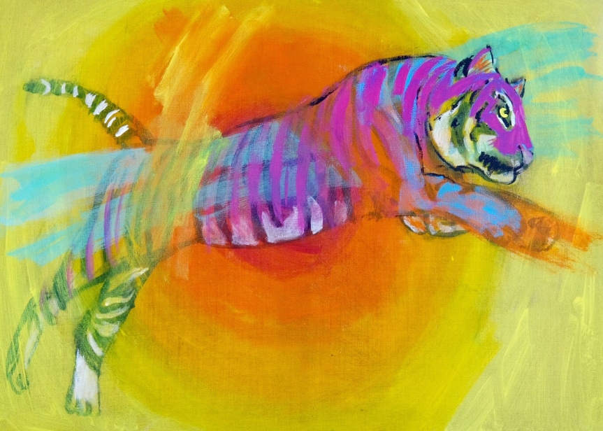 The hind legs of tigers are extremely powerful. A fully-grown tiger can leap over 8 meters (26 feet) and jump up to 5 meters (16 feet) vertically.