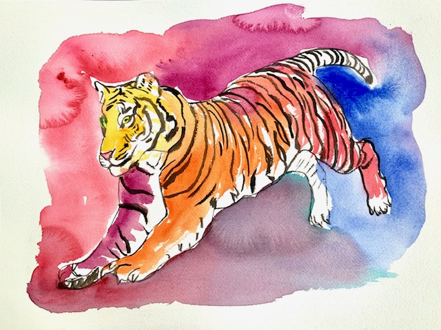 Tiger, tigerspring, leap, tigerben, akvarel