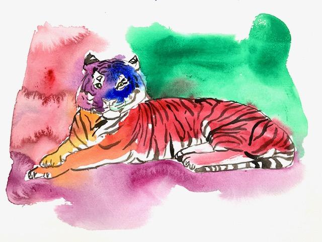 Tiger, akvarel, Merleau-Ponty, linjen, papir, blyant, ide, vildskab, energi, striber,