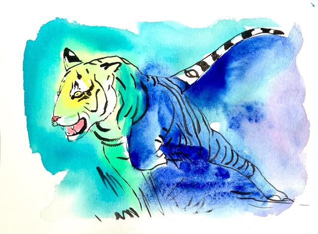 Tiger, vand, akvarel,