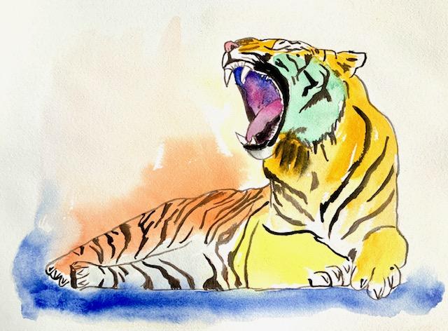 Akvarel, tiger, tigerbrøl, lydfrekvenser, hertz, frekvens, seksuel, lydfrekvens