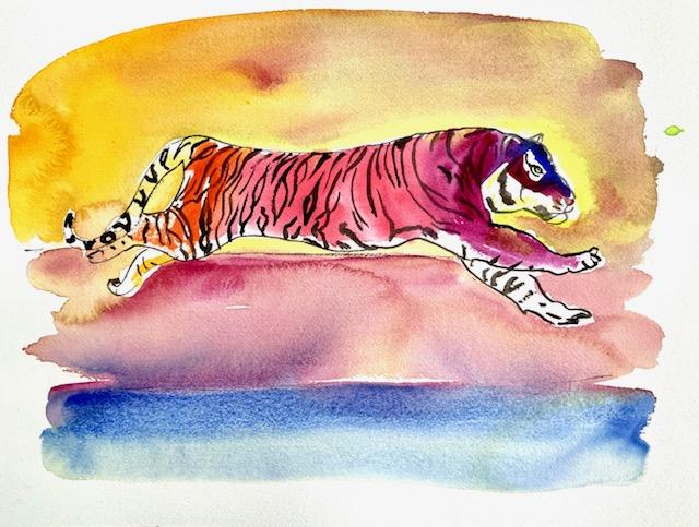 Tiger, akvarel, huntiger, elegance, balance