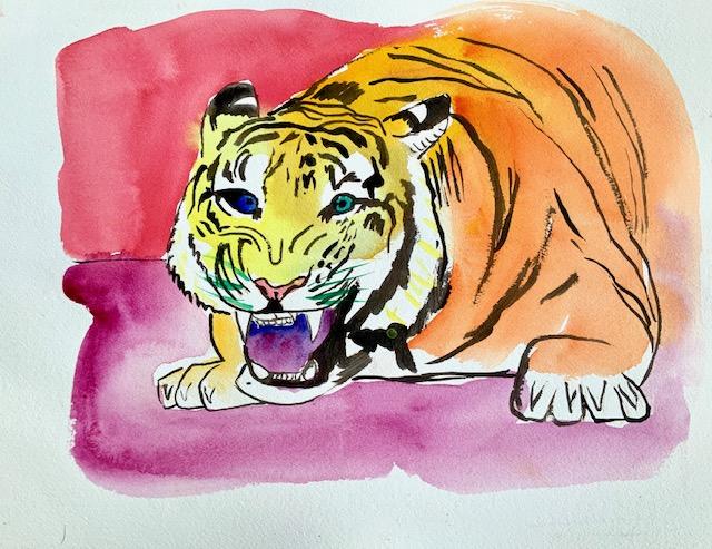 Tiger, Akvarel, byttedyr, angribe,