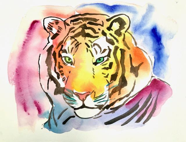 Kongetegn, tiger, akvarel, tigerstriber, maskekarakter, arabesk, konge, royality