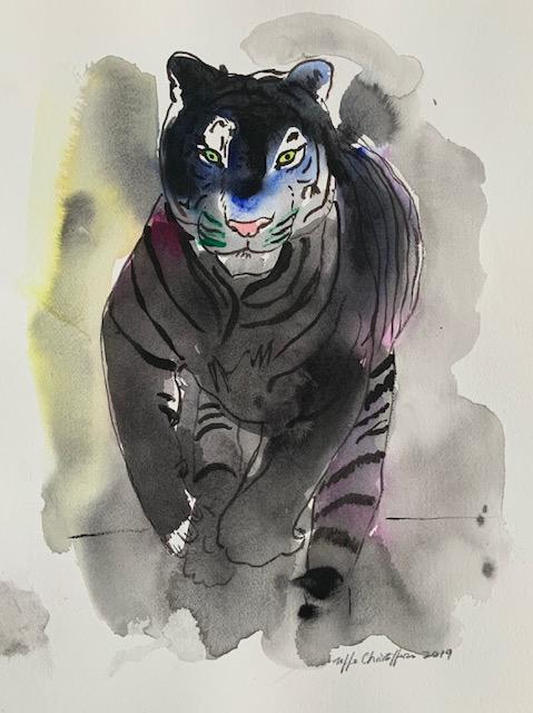 Melanin, tiger, melanistiske tiger, sort, striber, akvarel