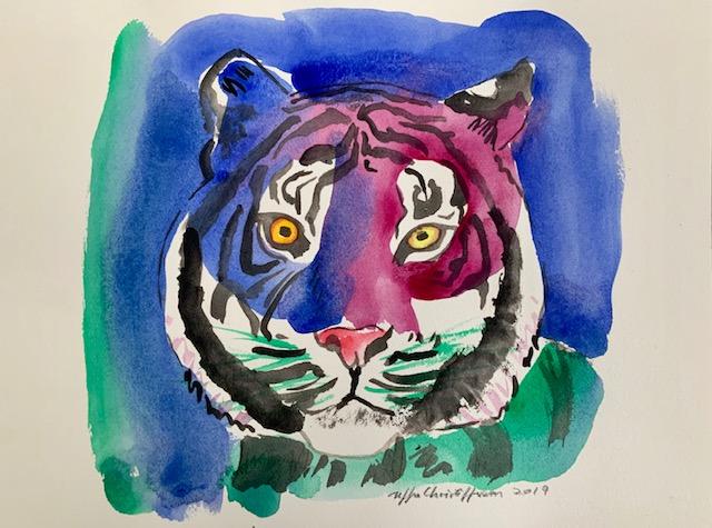 Kongetegn, tiger, akvarel, striber, øje,