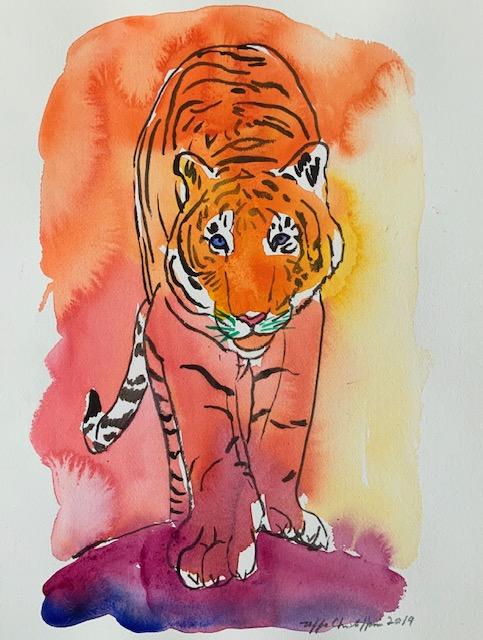 Tegning, tiger, akvarel, papir