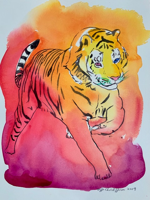 Huske, tiger, akvarel, tilpasningsevne,