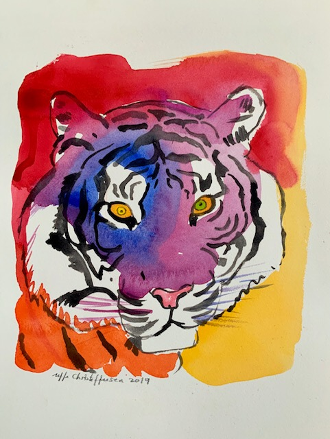 Kongetegn, tiger, akvarel, tigerstriber, unik,