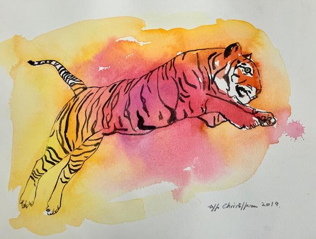 Tigerben, tiger, akvarel, angreb, bytte, Bagben