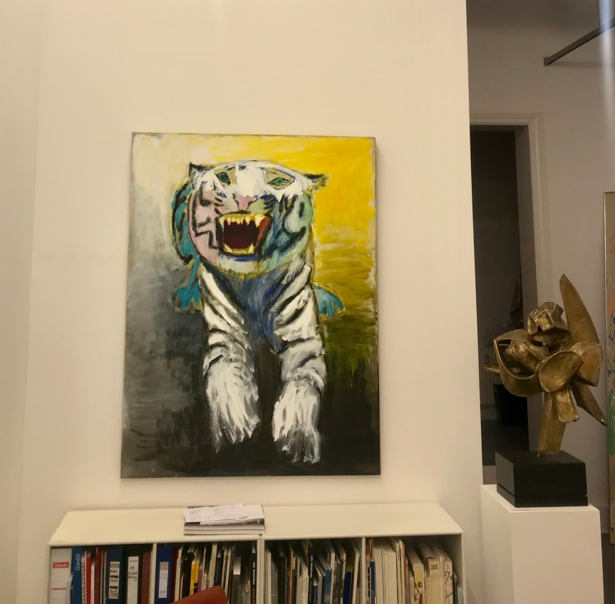 Painting, tiger, white, one man show