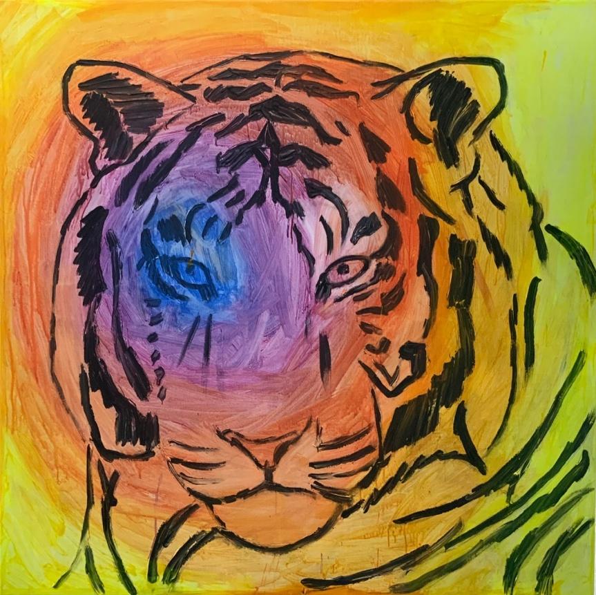 Kongetegn, tiger, painting, maleri,