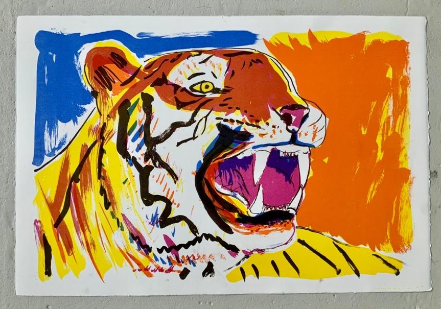 Tigertænder, tiger, farver, litografi, tænder,