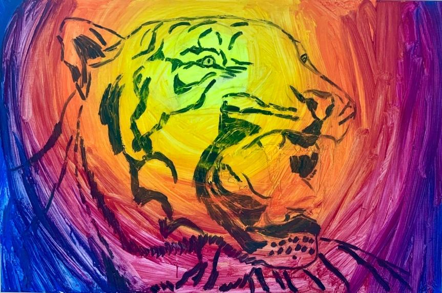 Tigre, tænder, progres, color, painting