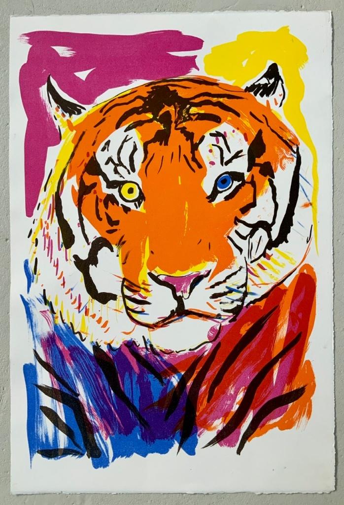 Litografi, tryk, kongetegn, tiger, farver, kongetegn