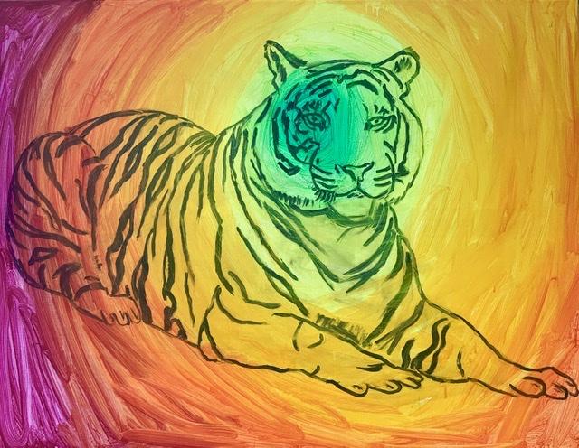 Tiger, farver, tegning, volumen,