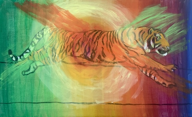 Huntiger, tigermaleri af Uffe Christoffersen