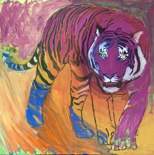 Et purpur tigermaleri af Uffe Christoffersen