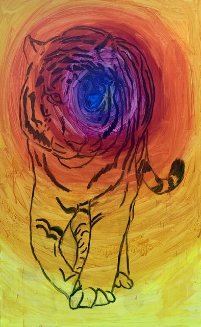 Tiger, gående, violet, gul, maleri,