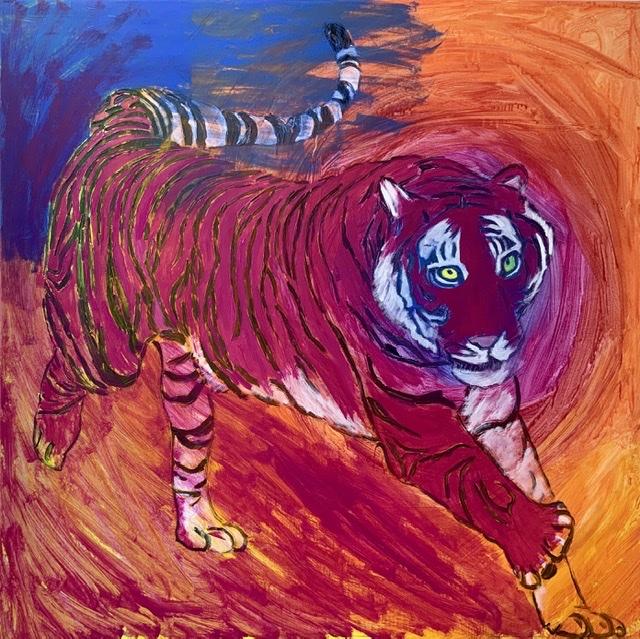 Rødt tigermaleri af løbende tiger af Uffe Christoffersen