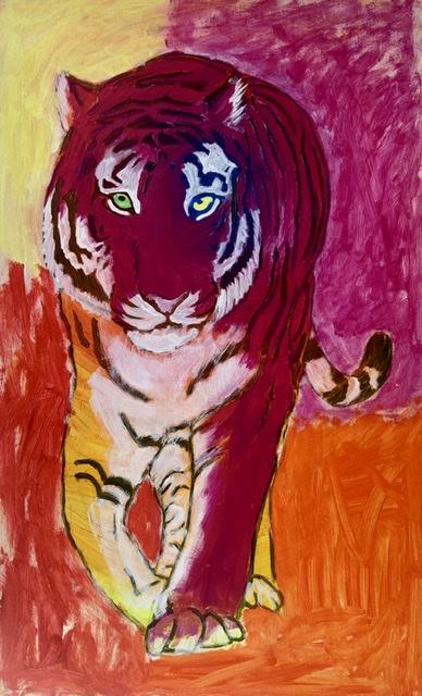 Rødt tigermaleri af Uffe Christoffersen