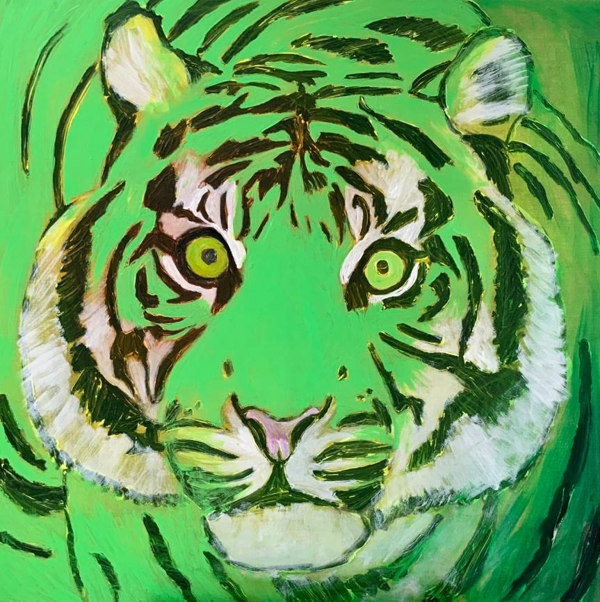 Grønt Tigermaleri med øjne af Uffe Christoffersen