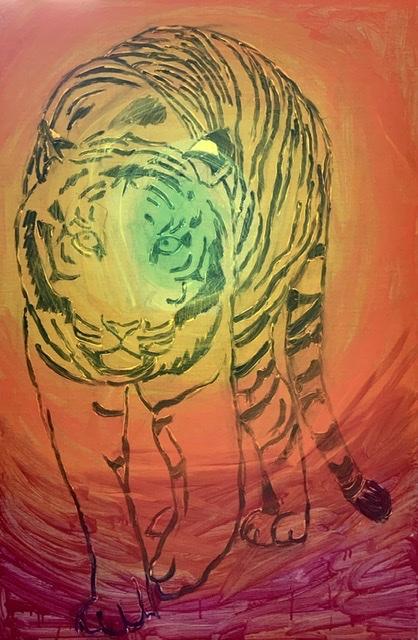 Påbegyndt, maleri, solidarisk, tiger, løve,