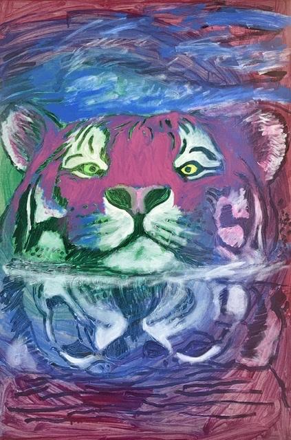 Svømmende tiger. Tigermaleri af Uffe Christoffersen