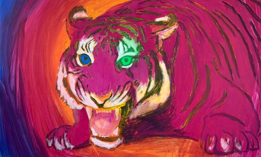 TIGER ATTACK. -2020. 80x130 cm. Tigermaleri af Uffe Christoffersen
