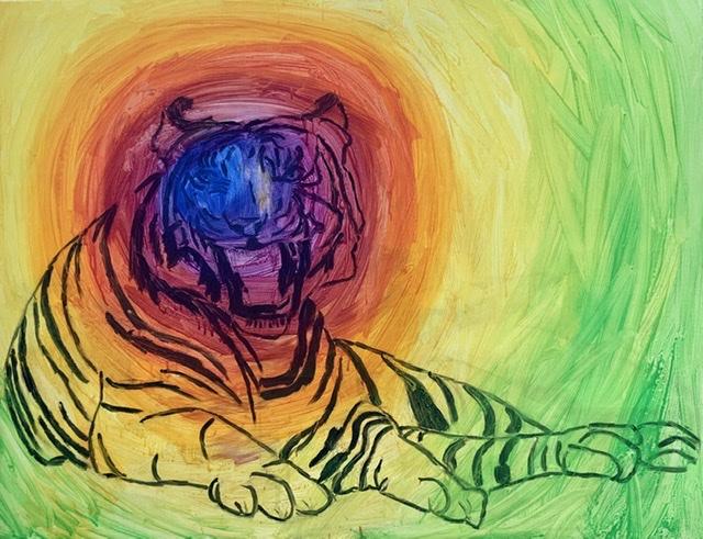 Liggende, tiger, ocelli, blink, øjne