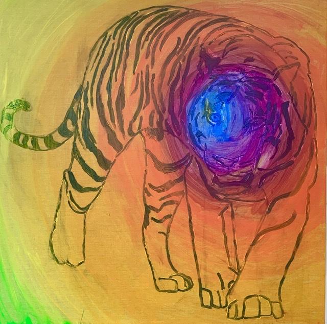 Tiger, haleføring, striber,