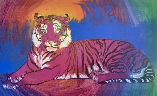 Tigermaleri. Liggende tiger. Maleri af Uffe Christoffersen