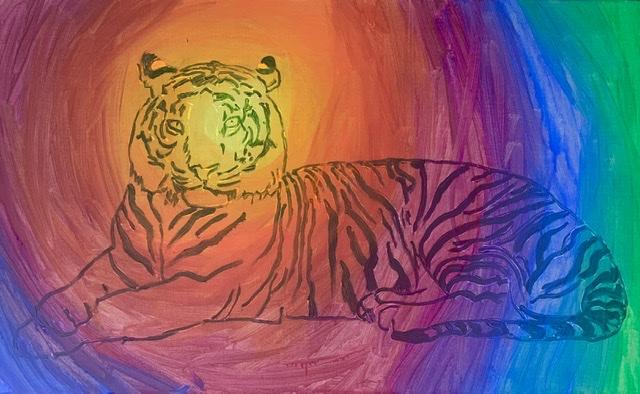 Nabo, tiger, liggende,
