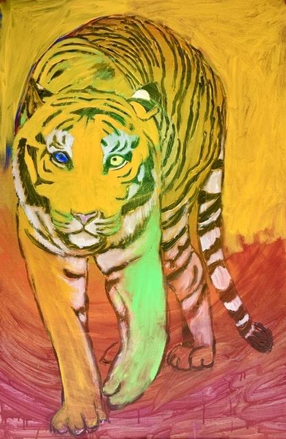 Gående tiger af Uffe Christoffersen. Tigermaleri