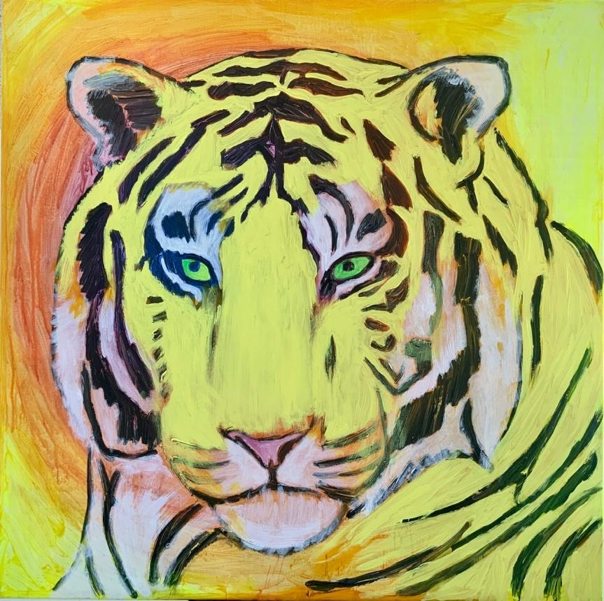 Gult tigermaleri tigerhoved af Uffe Christoffersen