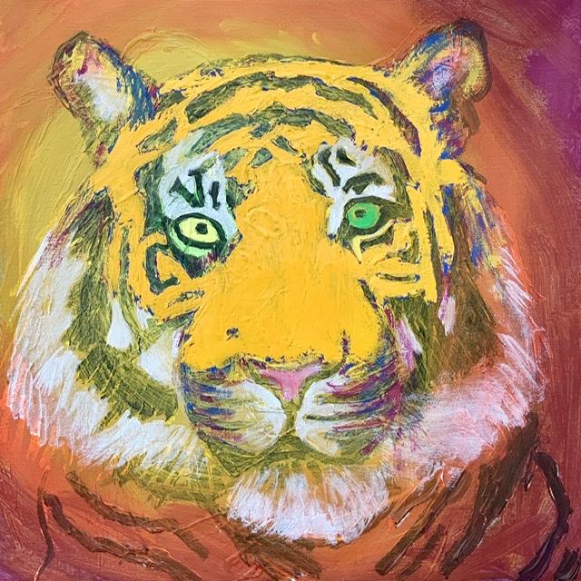 TIGERPORTRÆT 5. - 2020. 50X50 cm. Tigermaleri
