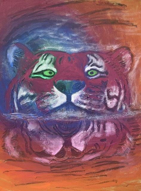 SVØMMENDE TIGER. -2020. 81x60 cm. Tigermaleri