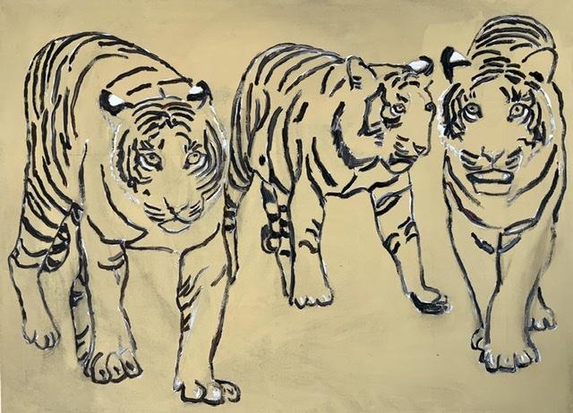 01. Les Trois Mousquetaires. 100x75 cm. 2020. Tigermaleri. Af Uffe Christoffersen