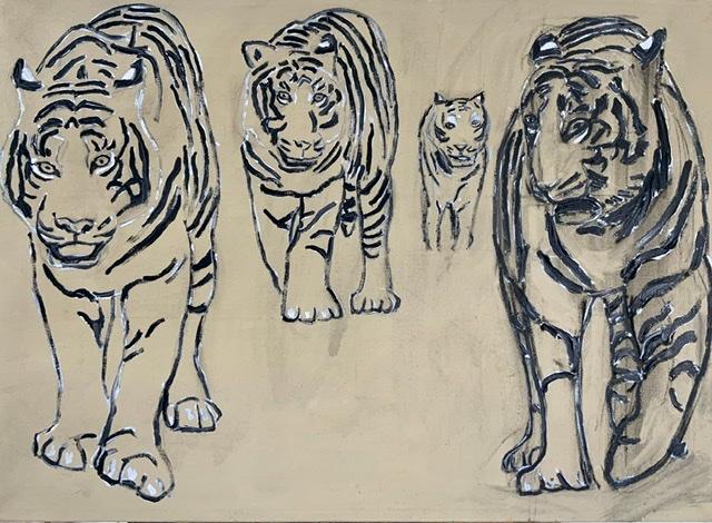 TIGRE DANNER RUM. Tigermaleri af Uffe Christoffersen. Atelier-Kaiserborgen