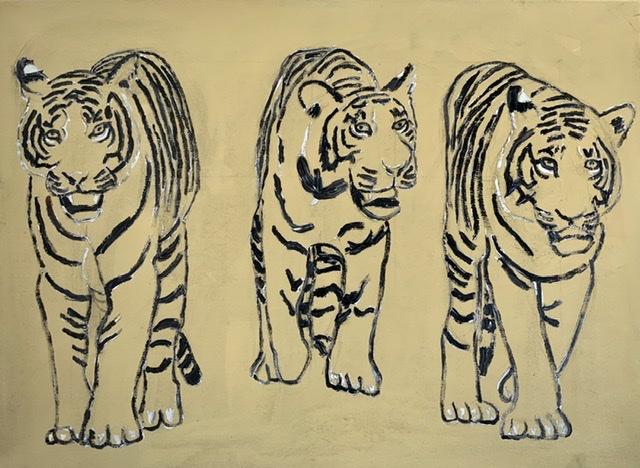 03. Les Trois Mousquetaires. 100x75 cm. 2020. Tiger maleri af Uffe Christoffersen.