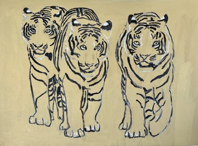 02. Les Trois Mousquetaires. 100x75 cm. 2020. Tigermaleri af Uffe Christoffersen.