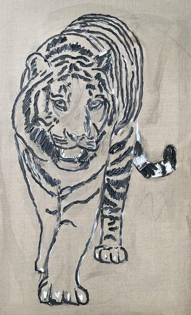 Sorte tigerstriber. Tigermaleri af Uffe Christoffersen