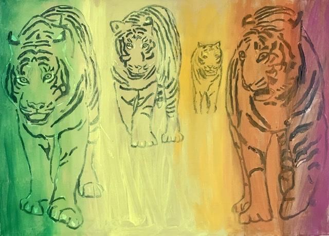 Tigre danner et rum. Tigermaleri af Uffe Christoffersen. Atelier-Kaiserborgen