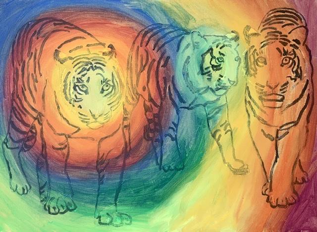 Tigermaleri af Uffe Christoffersen. ATELIER-KAISERBORGEN'