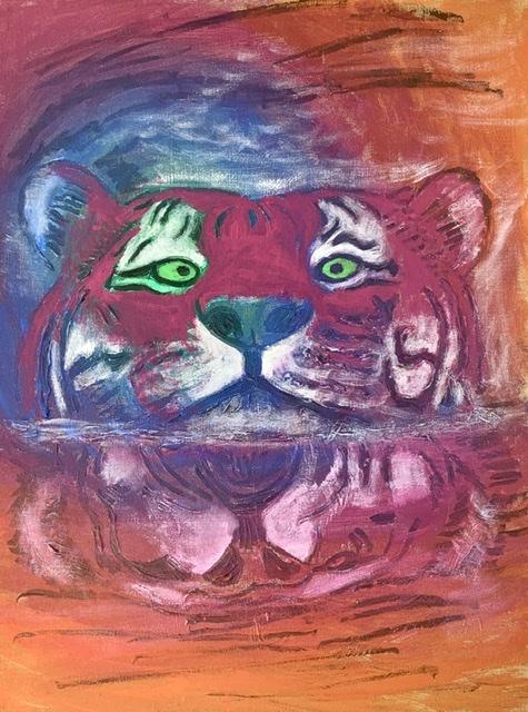 TIGERSPEJLBILLEDE. Tigermaleri af Uffe Christoffersen